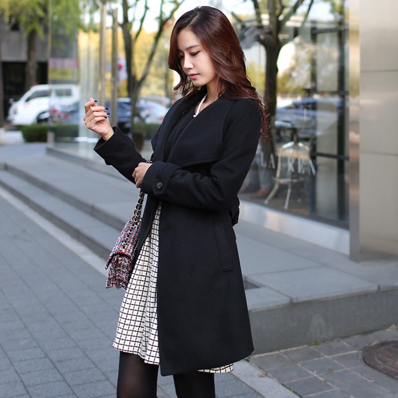 Stand High Neck Solid Color Women Oversized Woolen Slim Coat with Belt