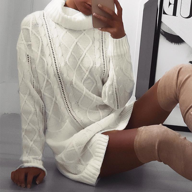 High Neck Split Cable Knit Pockets Long Pullover Women Sweater