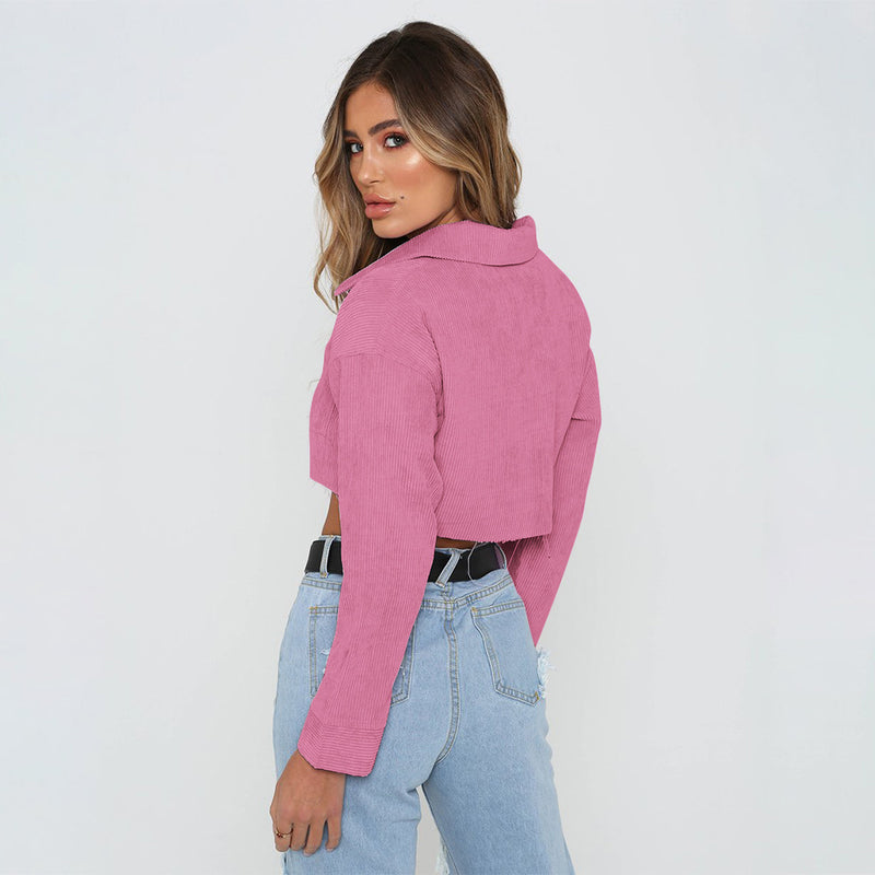 Shirt Collar Pockets Solid Color Women Cropped Short Denim Coat