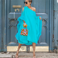 Bare Shoulder Solid Color Butterfly Sleeves Women Loose Knee-length Chiffon Dress