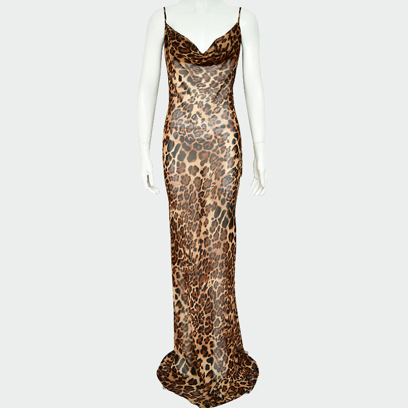 Spaghetti Strap Transparent Leopard Long Party Dress