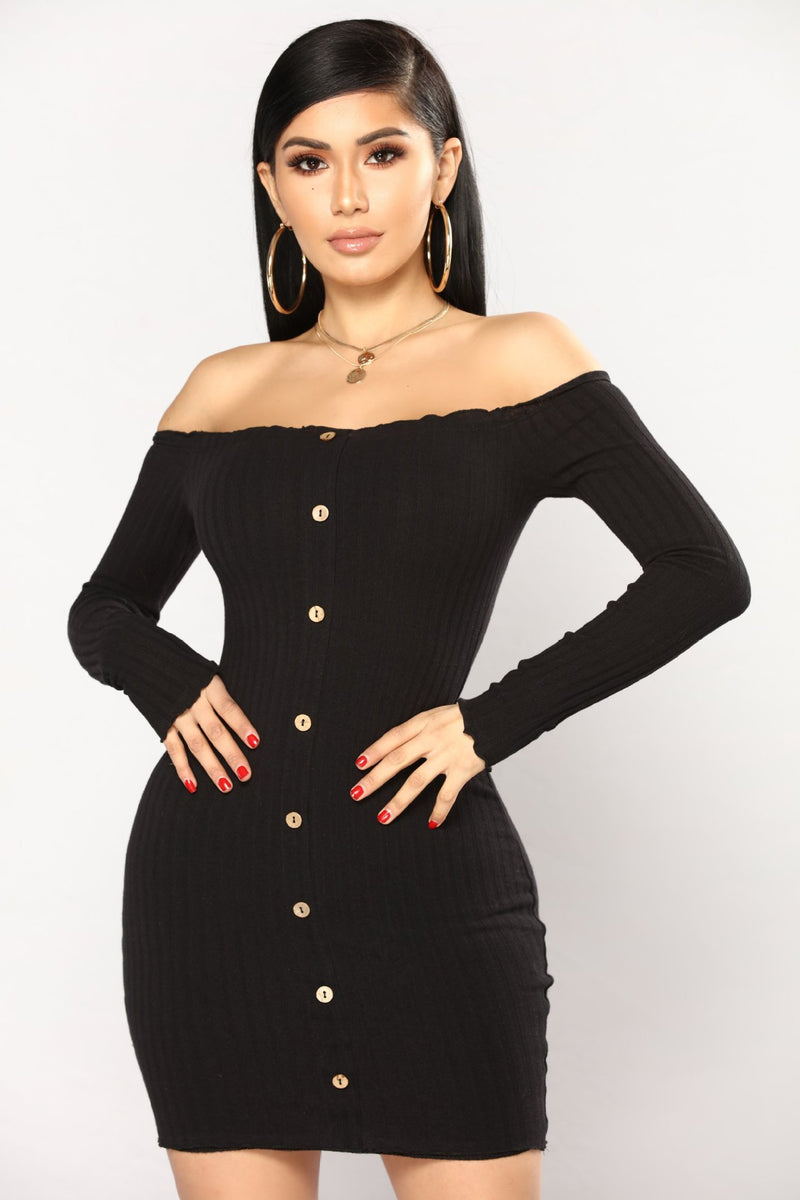 Off the Shoulder Buttons Long Sleeves Women Slim Short Dress