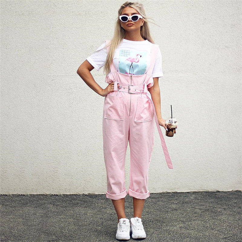 Rivets Hasp High Waist Women Pencil Loose Pink 9/10 Romper Pants
