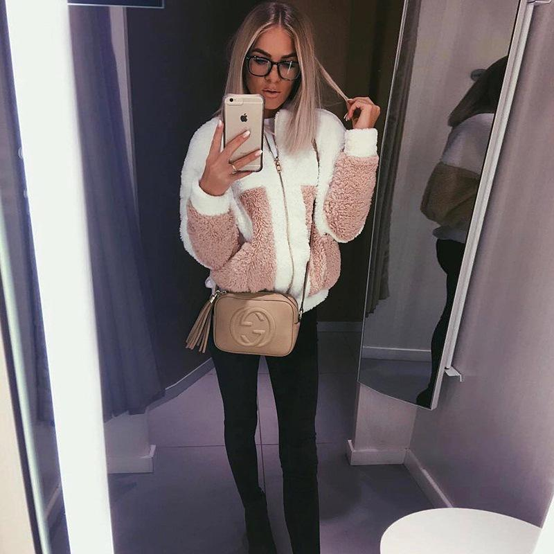 Stand Collar Zipper Color Patchwork Big Pockets Women Teddy Coat