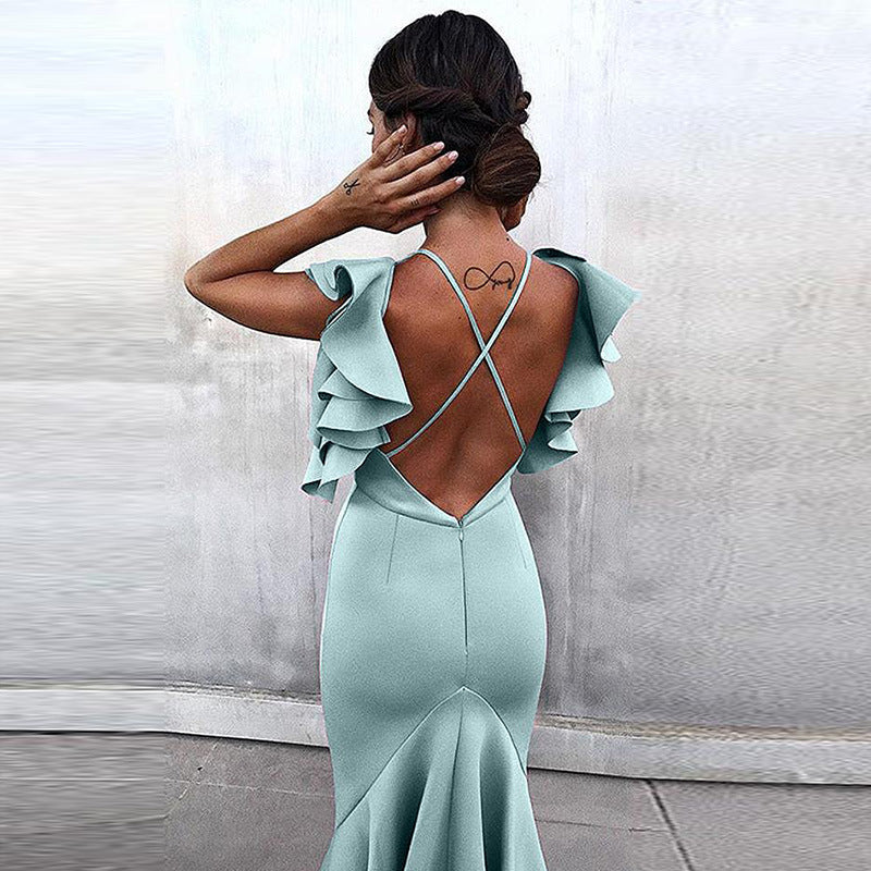 Ruffles Open Back Straps Bright Color Women Knee-length Dress
