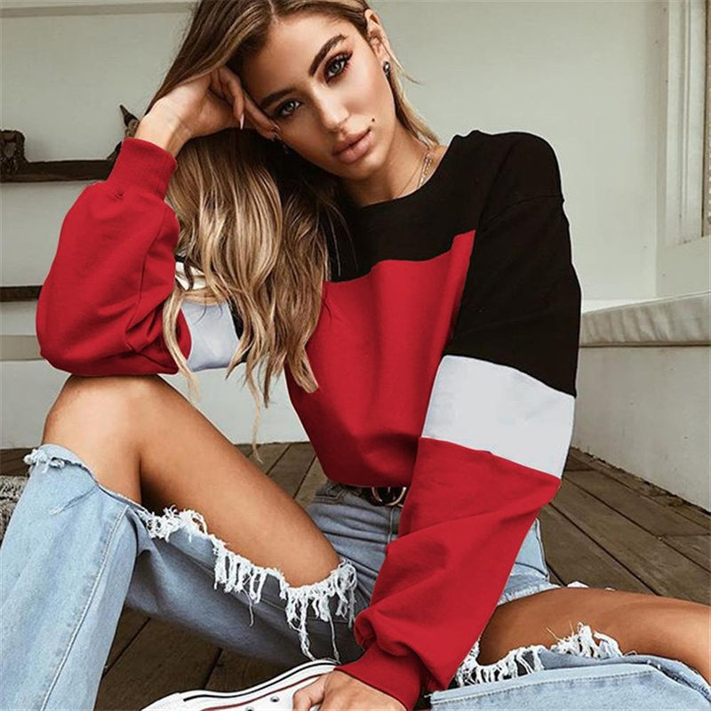 Color Block Patchwork Women Crop Sweatshirt