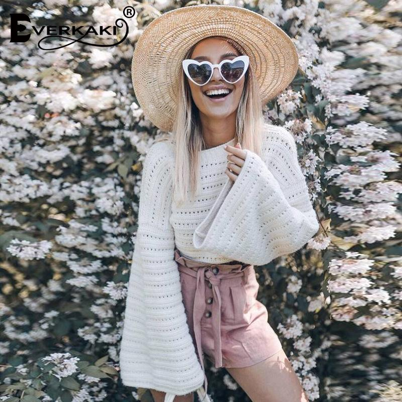 Hollow Out Crew Neck Long Trumpet Sleeves Hollow Out Cropped White Sweater
