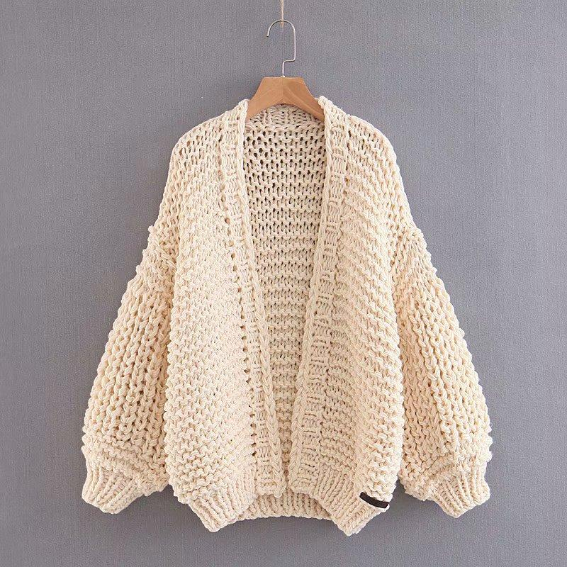 ad391144ac8 Loose Long Bishop Sleeves Women Hand Knit Chunky Sweater – Oh Yours ...