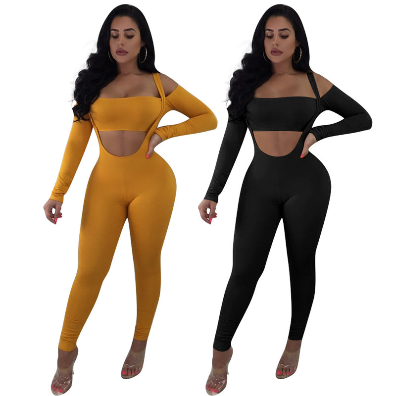 Off the Shoulder Crop Top with Skinny Pants Two Pieces Set