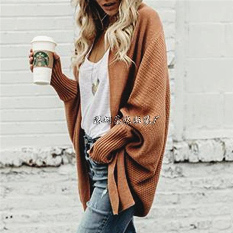 Solid Color Knit Wear Long Batwing Sleeves Women Oversized Cocoon Cardigan