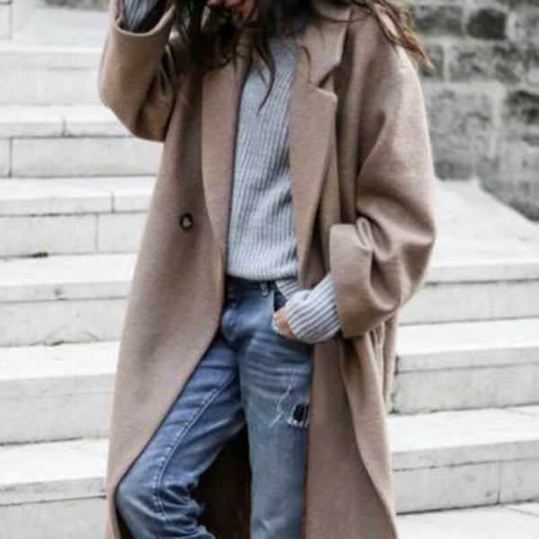 Khaki Notched Collar Wool Coat
