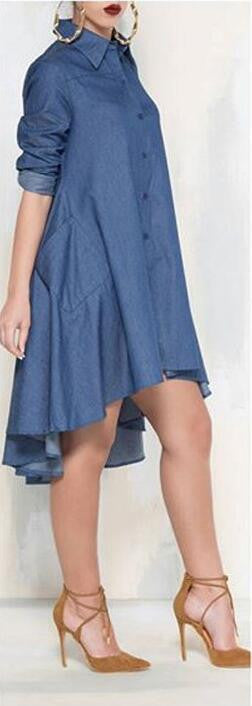 Casual Denim Blue Pockets Shirt Irregular Loose Dress - Oh Yours Fashion - 2