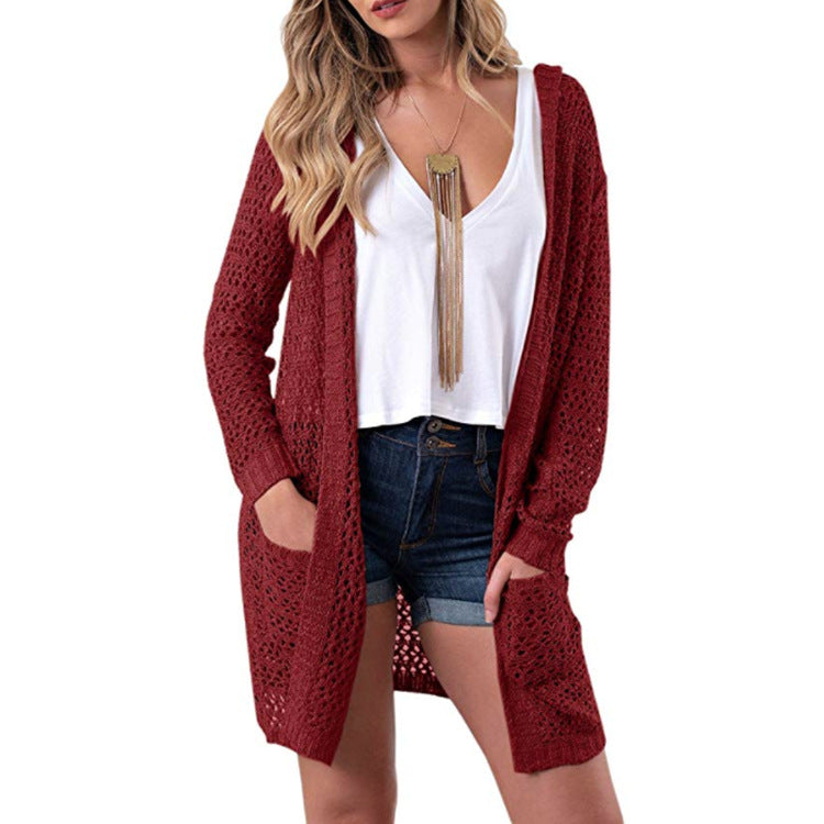 Hollow Out Knitwear Women Oversized Hooded Cocoon Cardigan