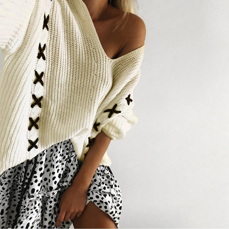 Deep V-neck Long Batwing Sleeves Loose Knit Sweater