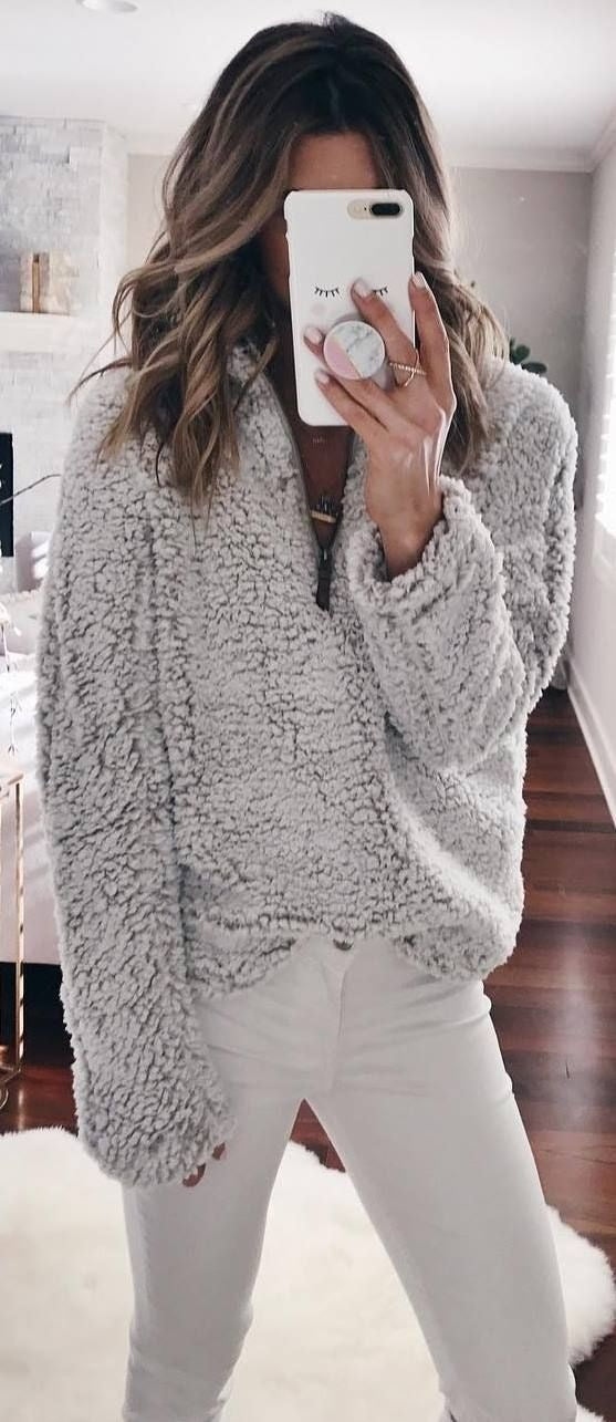 Solid Color Fluffy Stand Collar Zipper Women Loose Sweatshirt