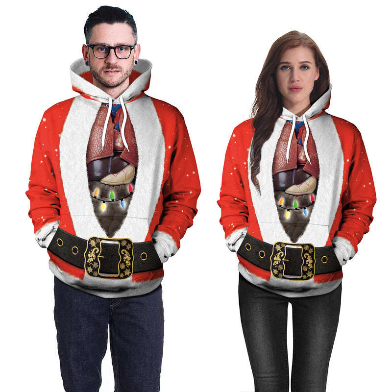 Unique Christmas Print Drawstring Women Hoodie