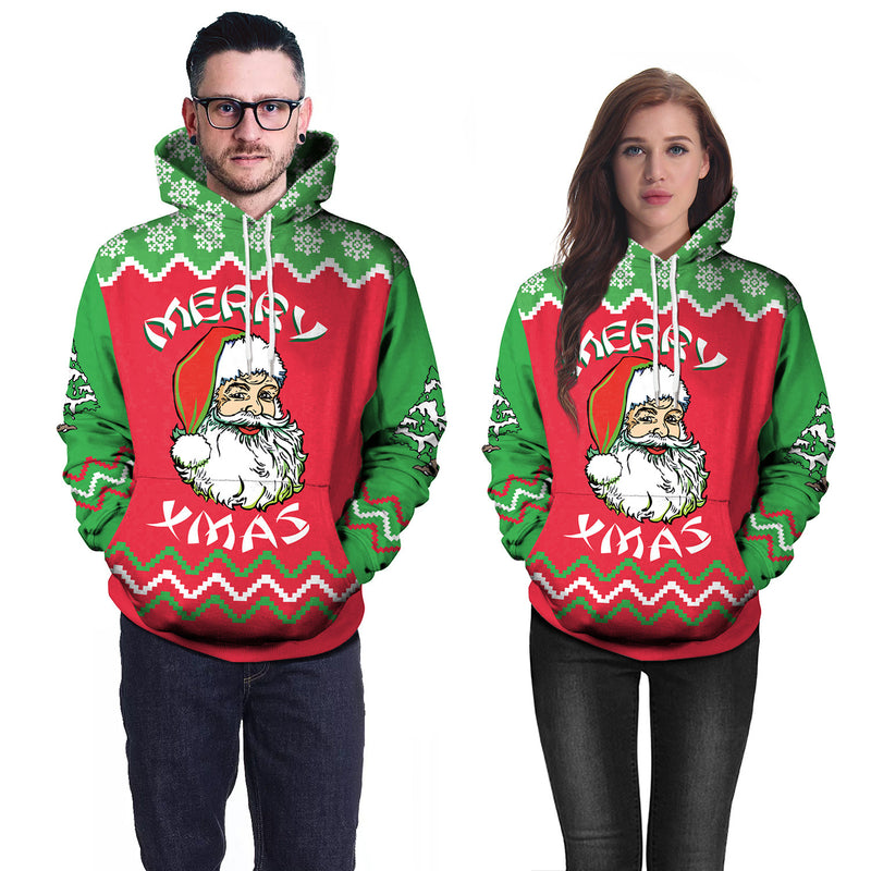 Xmas Santa Claus Digital Print Women Drawstring Party Hoodie