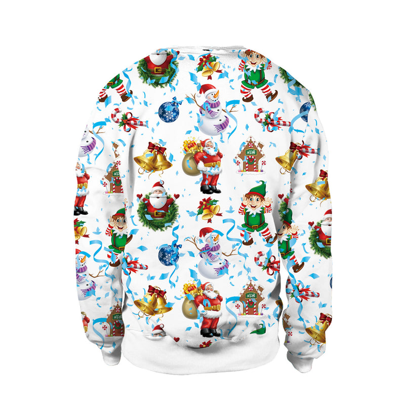 Scoop Santa Claus Snow Digital Print Women Christmas Sweatshirt