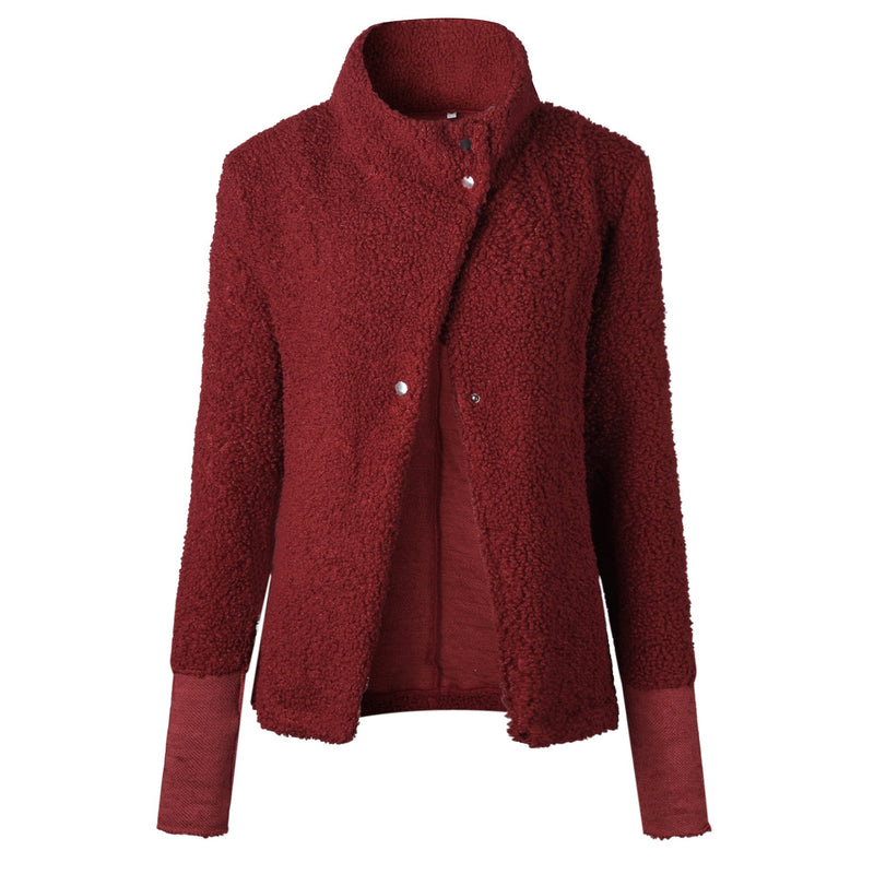 High Neck Bevel Buttons Slim Women Red Cardigan
