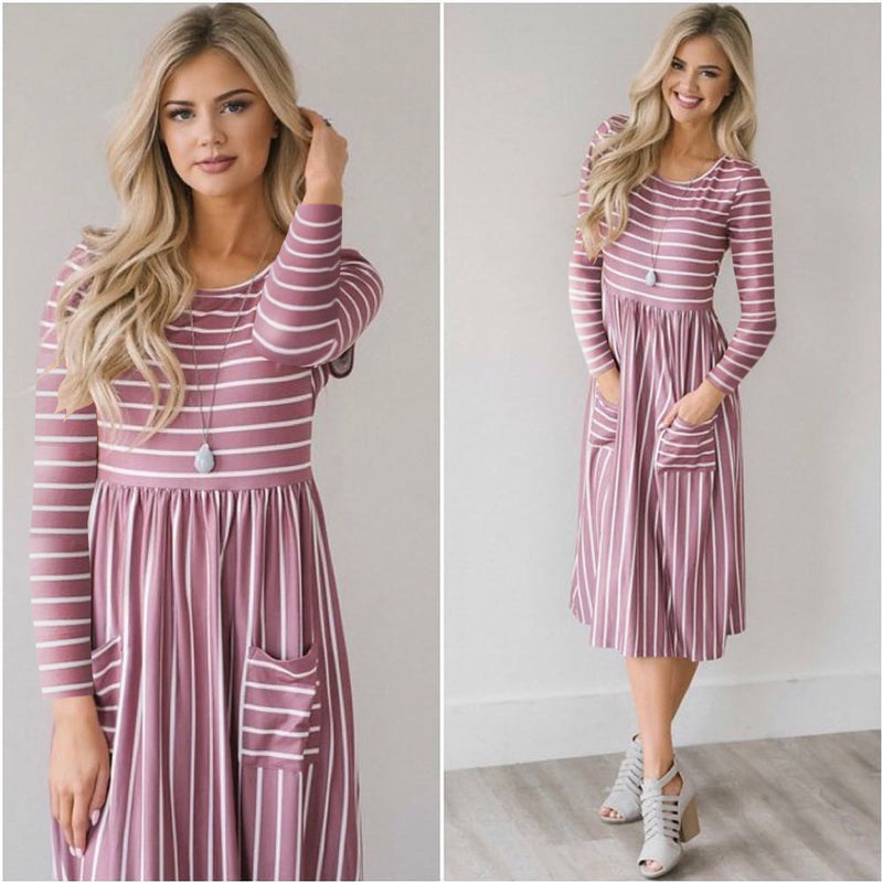 Stripes High Waist Pockets Women Knee-length Dress
