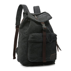 Folder Cover Solid Color Canvas Backpack Leisure Bag - Oh Yours Fashion - 3
