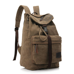Folder Cover Solid Color Canvas Backpack Leisure Bag - Oh Yours Fashion - 5