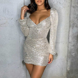 Sequin Shoulder Pads Bandage Dress