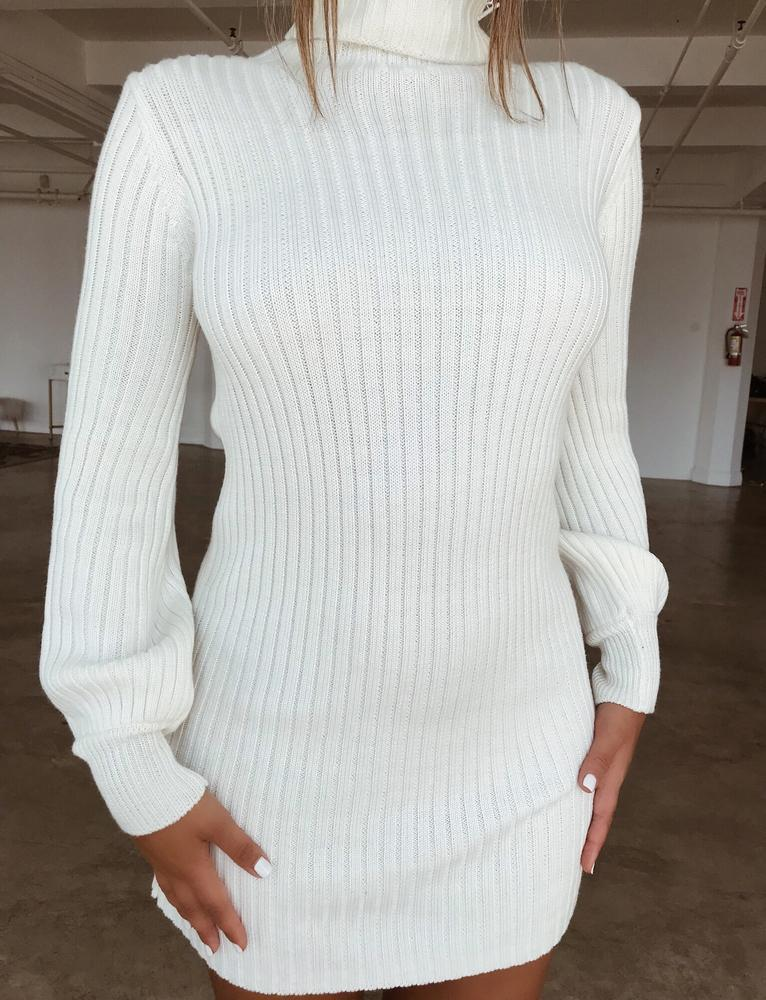 b3b248c796a Turtleneck Long Bishop Sleeves Women Pullover Oversized Sweater Dress