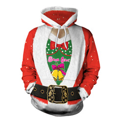 Drawstring Hooded Women Christmas Bowknot Print Party Hoodie