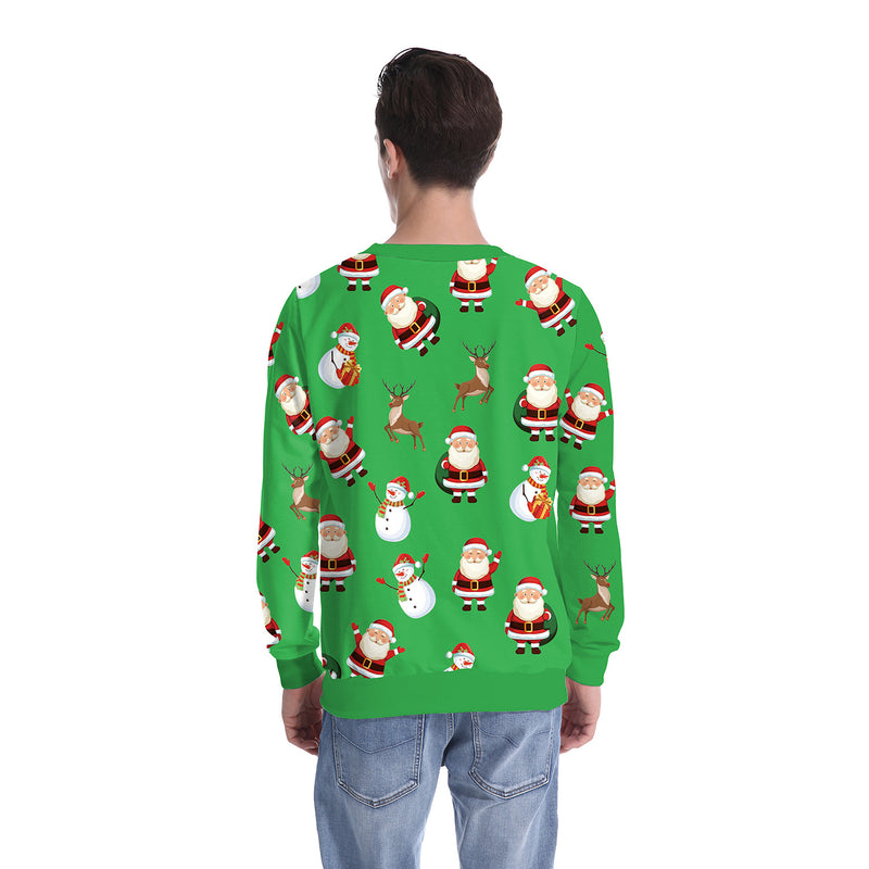 Gifts Sock Cartoon Print Women Scoop Christmas Party Sweatshirt