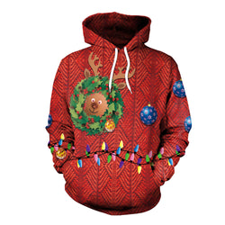 3D Digital Color Print Women Drawstring Christmas Party Hoodie