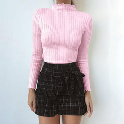 High Neck Slim Knit Women Pullover Sweater