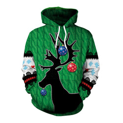 Drawstring 3D Reindeer Print Women Loose Pocket Christmas Party Hoodie
