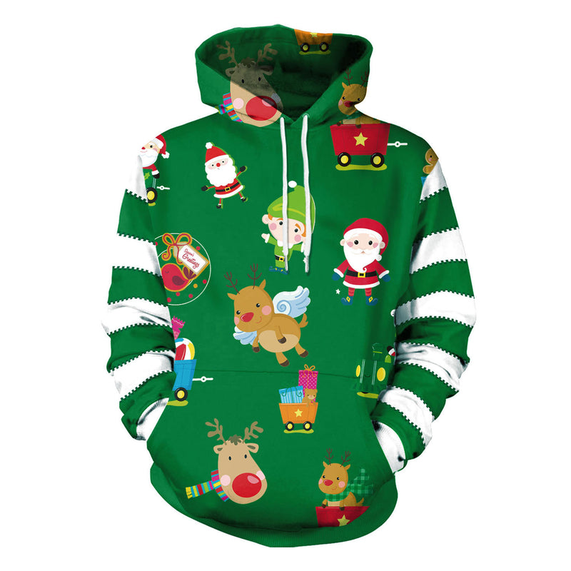 Reindeer Santa Claus Print Women Drawstring Christmas Party Hoodie