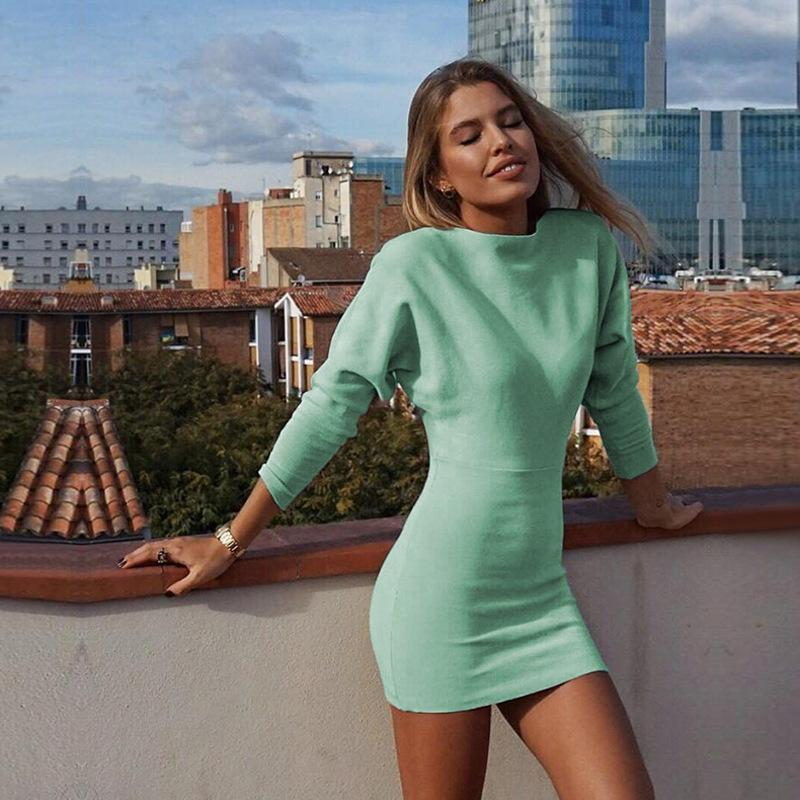 2019 Solid Color Long Sleeves Women Bodycon Short Dress