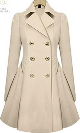Double Button Turn-down collar Slim Plus Size Coat - Oh Yours Fashion - 5