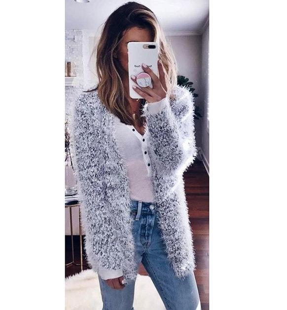 Plush Solid Color Women Cardigan Sweater