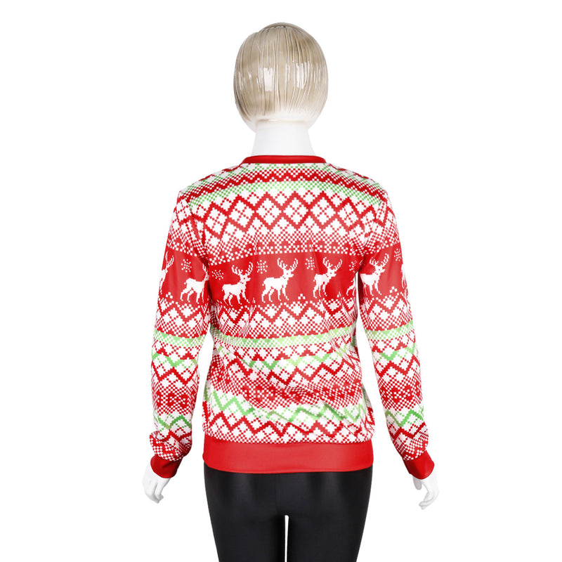 Snowman Digital Print Women Scoop Christmas Party Sweatshirt
