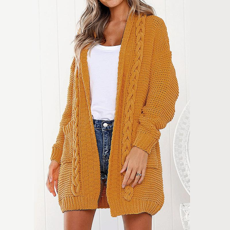 Candy Color Pockets Cable Knit Women Long Cardigan