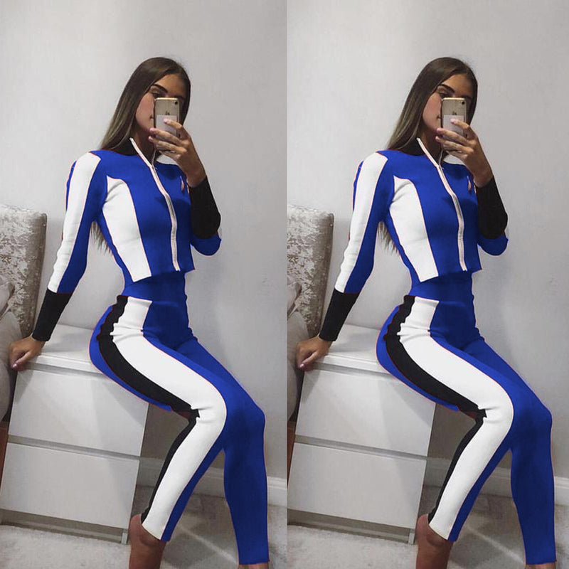 Color Block High Neck Crop Top with Skinny Long Pants Women Two Pieces Set