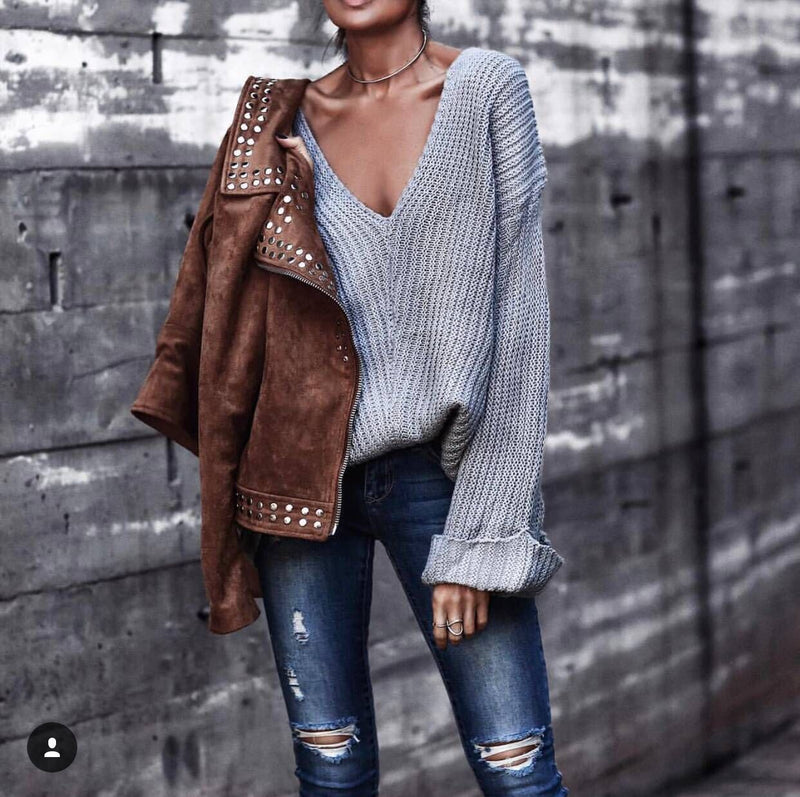 Solid Color Deep V-neck Loose Long Curl Sleeves Women Pullover Sweater