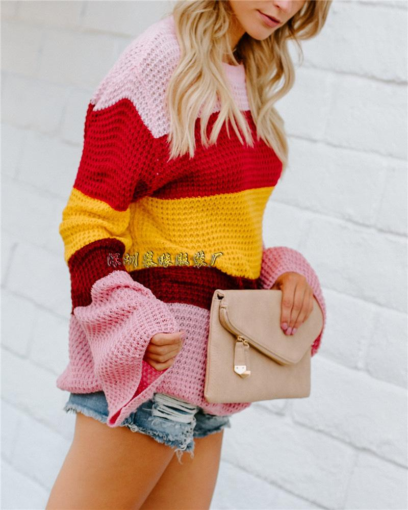 Rainbow Stripes Color Block Loose Long Trumpet Sleeves Women Sweater