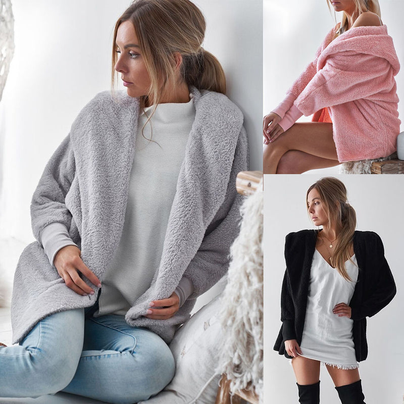 Pure Color Lapel Women Cardigan Hooded Oversized Teddy Coat