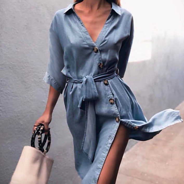 Deep V-neck Buttons Straps Belt Half Sleeves Women Knee-length Dress