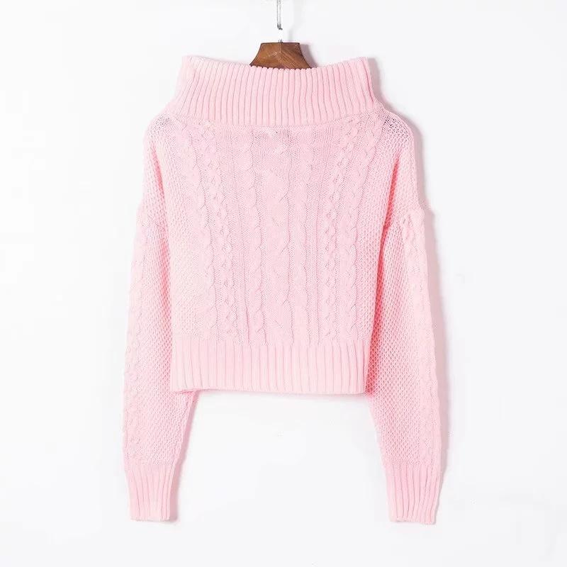Off Shoulder Cable Knit Loose Lantern Sleeves Women Sweater
