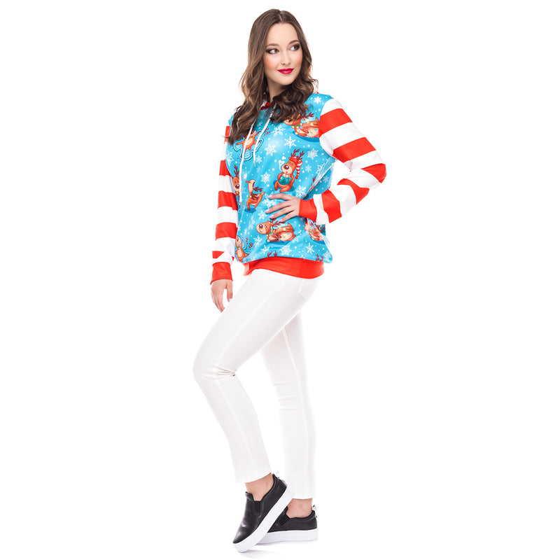 Patchwork Reindeer Snow Print Women Drawstring Christmas Hoodies