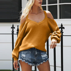Off the Shoulder Straps Bowknot Women Loose Pullover Thin Sweater