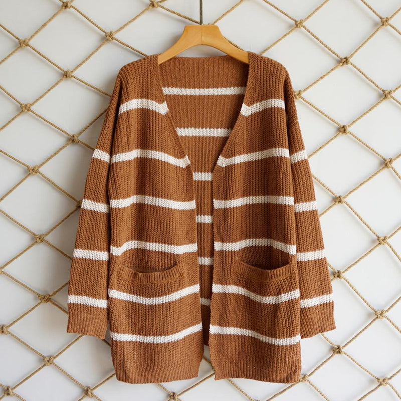 2018 Autumn Stripe Loose Wide Sleeves Pockets Women Long Cardigan