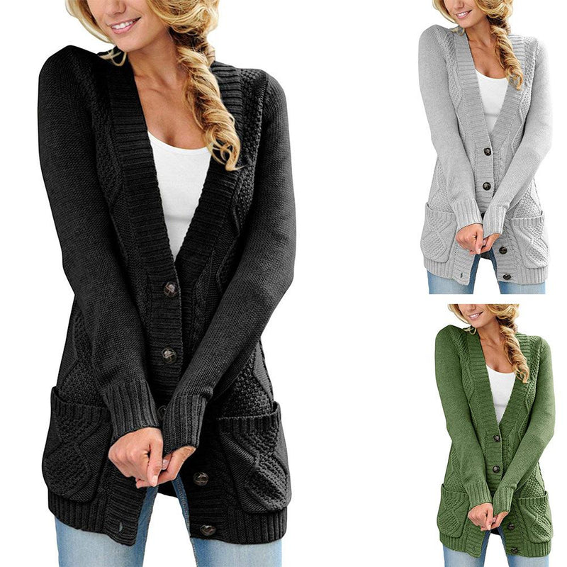 2018 Autumn Style Deep V-neck Buttons Pockets Long Women Cardigan