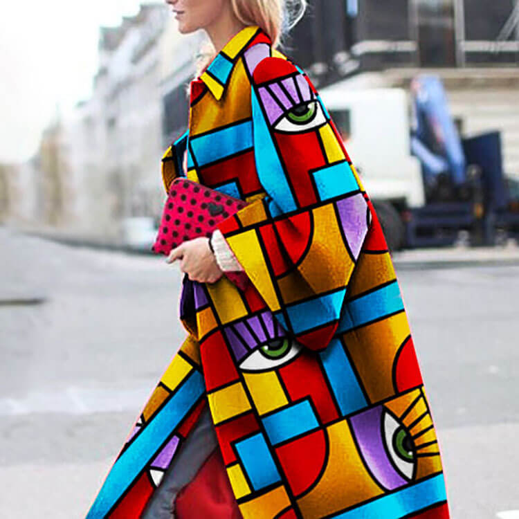 Geometric Print Ooen Front Over Coat
